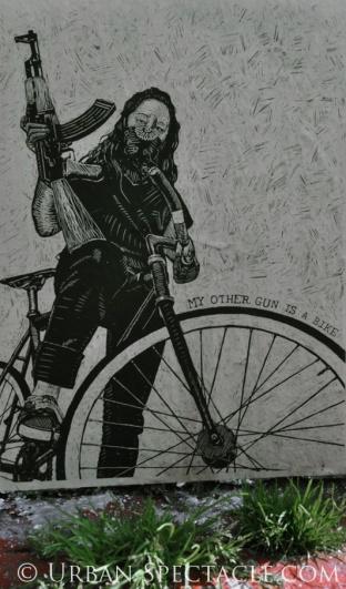 Street Art of San Francisco (Clarion Alley (Gun Bike)) 3.25.10